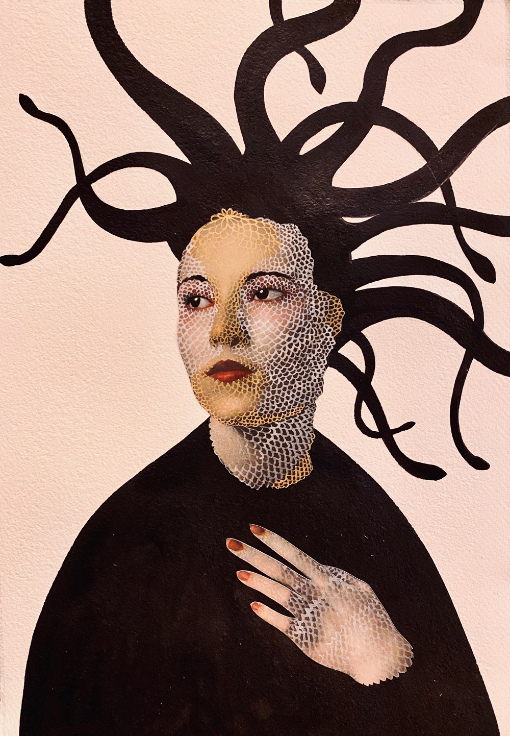 A mixed media portrait of a figure in black looking off to the side with her hand on her chest. She is pale with white and gold scales on her skin and her hair is a silhouette of tangled snakes. Her lips and nails are painted ruby red.